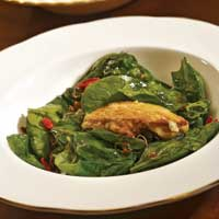Warm Spinach Salad with Duck Confit and Pan Seared Foie Gras