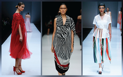Perpaduan Warna Putih dan Merah yang Rupawan dari Jakarta Fashion Week 2018