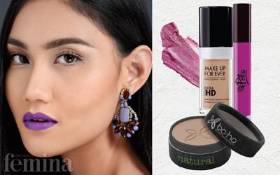 Kesan Sensual dengan Lipstik Ungu Terang