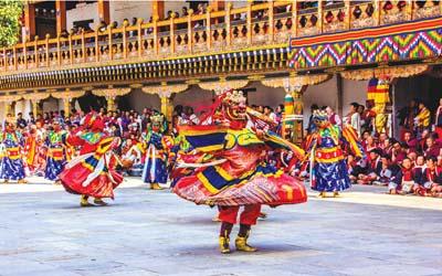 Menyaksikan Festival di  Thimphu, Bhutan